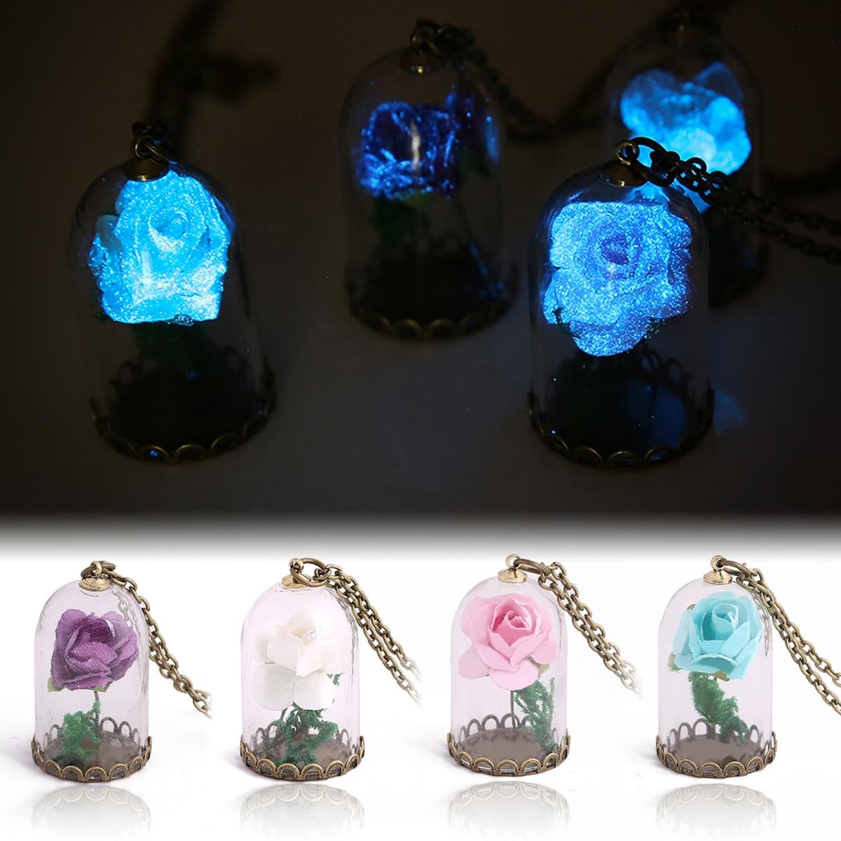 अंधेरे गहने में विंटेज चमक चमकदार फूल लटकन हार ग्लास बधाई बोतल चेन लंबी स्टेटमेंट हार आभूषण