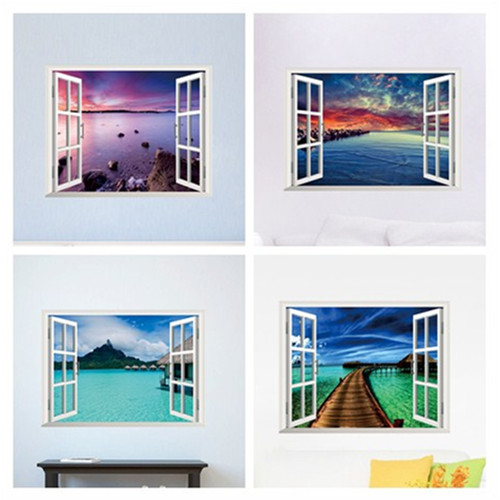 Beautiful Sky Tropical Ocean 3D Window View Blue Sea Home Decor Wall  Sticker Creative Scenery Living