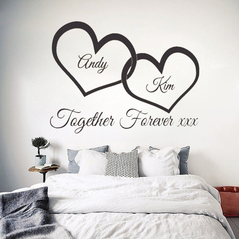 W147 Together Forever xxx entwined love hearts personalised wall art Vinyl Couple wall sticker for bedroom decor-in Wall Stickers from Home u0026 Garden on ...  sc 1 st  AliExpress.com & W147 Together Forever xxx entwined love hearts personalised wall art ...