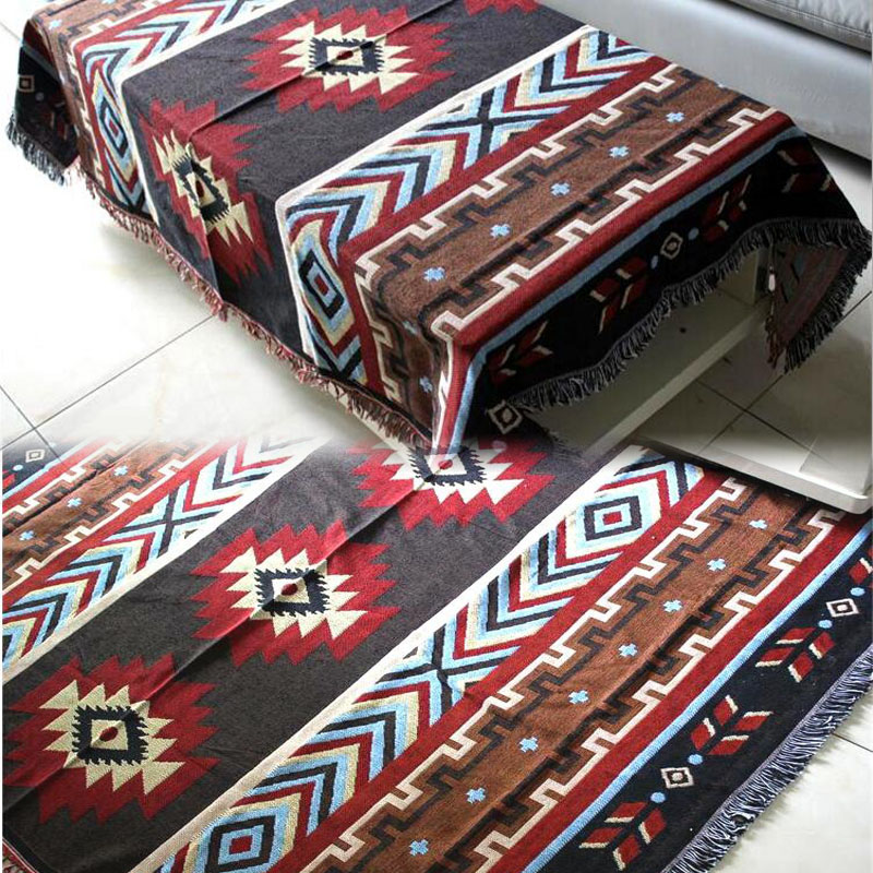 Multifunction Kilim Sofa Blanket Geometric Pattern Blanket Living Room Bedroom Rug Soft Carpet Bedspread Tablecloth Tapestry