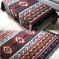 Multifunction Kilim Sofa Blanket Geometric Pattern Blanket Living Room Bedroom Rug Soft Carpet Bedspread Tablecloth Tapestry