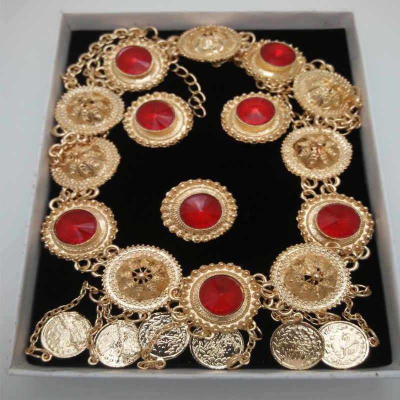 Мама Королевства верхней Дубай золото Цвет Ювелирные наборы Нигерии Свадебный африканские Rad Кристалл Цепочки и ожерелья браслет серьги кольцо большой набор ювелирных изделий