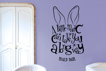 Roald Dahl Quote Decal A Little Magic Can Take You Long Way Vinyl Wall Sticker Rabbit Ears For Kids Nursery Room Decor SYY629