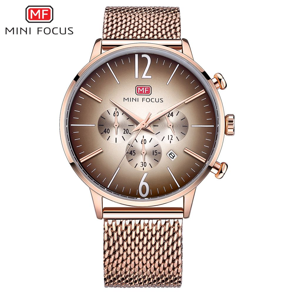 MINI FOCUS Top Brand Luxury Sports Quartz Watches Men Analog Date Clock Male Stainless Steel Strap Wrist Watch relogio masculino new men stainless steel gold watch luxury brand auto date mens quartz clock roman scale sports wrist watches relogio masculino