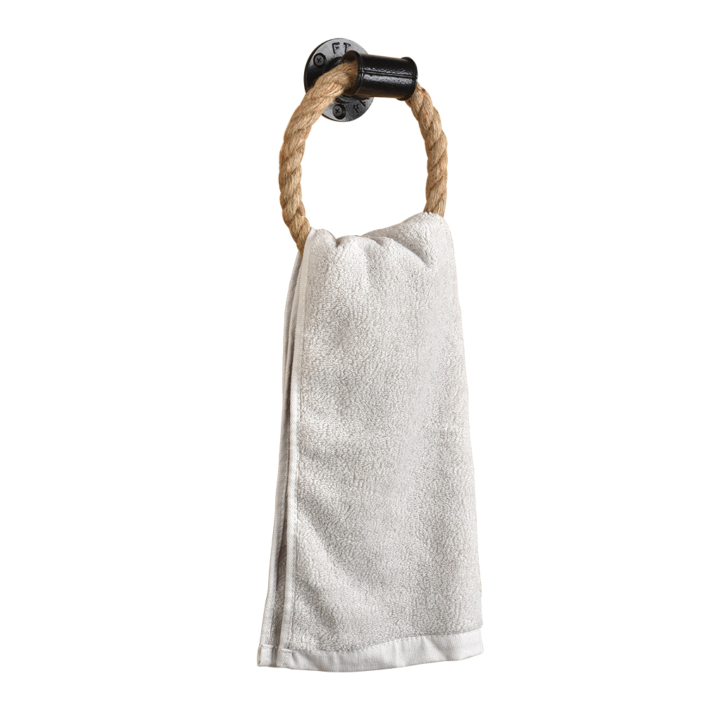 Rope Towel Ring Wall Mount Hand Towel Rings Heavy Duty Solid Towel Holder For Bathroom Rust-Proof Natural Rustic Ropes