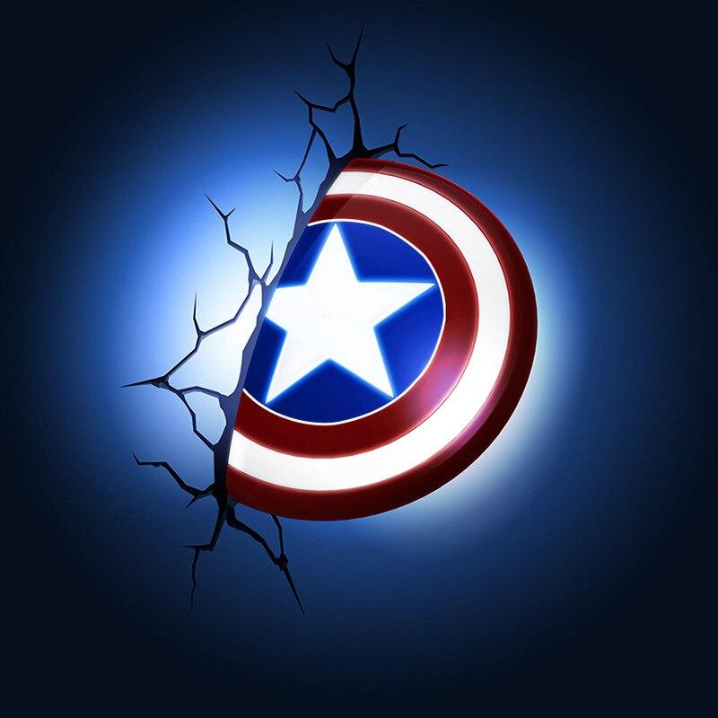 3D Captain America bouclier veilleuses Avengers LED chevet créatif Bar applique murale lampe nouveauté cadeaux bébé alimentation lampe