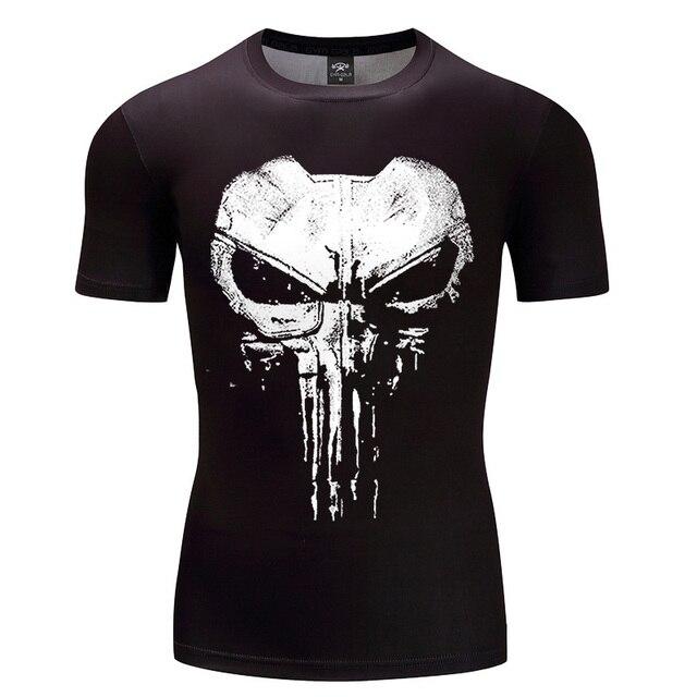 2018新しいデザイン圧縮シャツパニッシャー3dプリントtシャツ南北戦争avengersコスプレ衣装フィットネス服トップス用男性