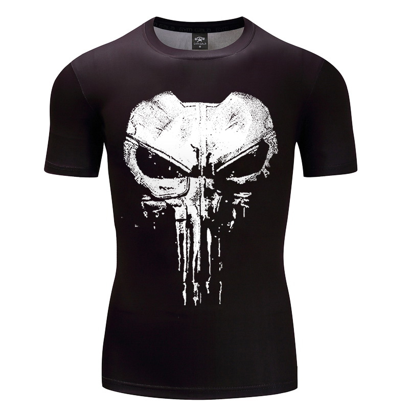 2018 Fashion T Shirts For Men Printing Ftp Designs T: 2018 New Design Compression Shirt Punisher 3D Printed T
