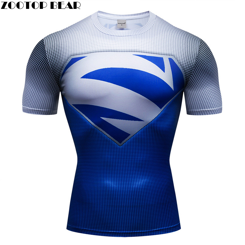 Superman Men T shirt Breathable Bodybuilding Male Compression Super Hero Fitness 3D Print Shirts Quick Dry Short Sleeve Fitness