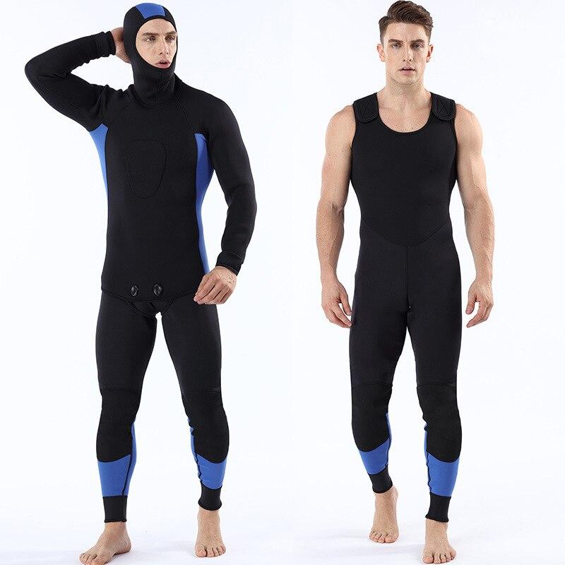 Men 3mm neoprene two-piece suit diving suit all black wetsuits surfing suit big yard 100 kg can wear wet suit suit lemoniade suit