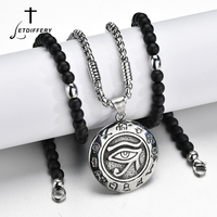Letdiffery Pendant Necklaces Link Chain with Black Lava Stone Strand Bead Amule Retro Punk Single Angel Devil Evil Eye Necklace