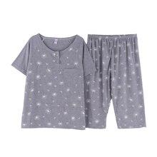 Summer short sleeve sleepwear cotton pajama sets female home clothing plus size M 4XL pyjamas cute