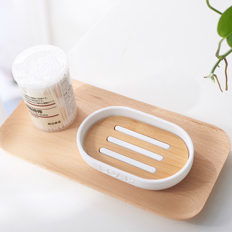 Bamboo Soap Dish Wooden Soap Holder Wood Bathroom Soap Box Case Container Tray Rack Plate