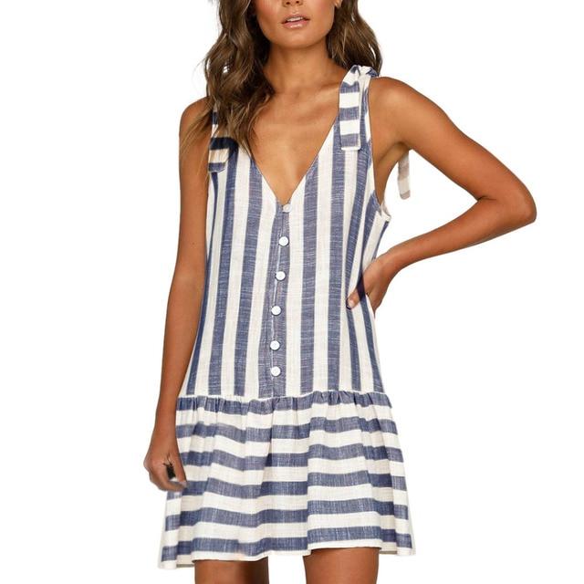 2019 Women's Sexy Striped Printed Button V-Neck Sleeveless Casual Mini Dress Faldas Mujer vestidos vestido robe femme sukienki