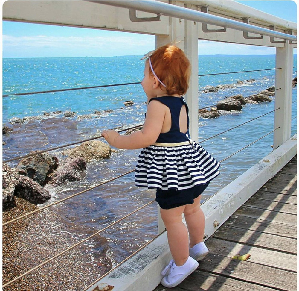 Darmowa wysyłka 2 szt. Dziewczynek bez rękawów w paski spódnica - Odzież dla niemowląt - Zdjęcie 5