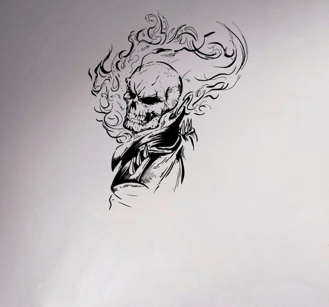Gratis pengiriman ghost rider vinyl decal antiheroes wall sticker flaming skull rumah kreatif poster grafis komik