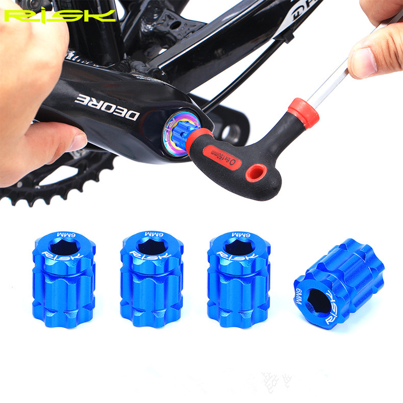 2018 Mtb Bike Crank Bolts Wrench Aluminum 7075 CNC 6 MM Plum Wrench Tools For SHIMANO XT M8000 Bicycle Crankset Lock Bolts in Bicycle Repair Tools from Sports Entertainment