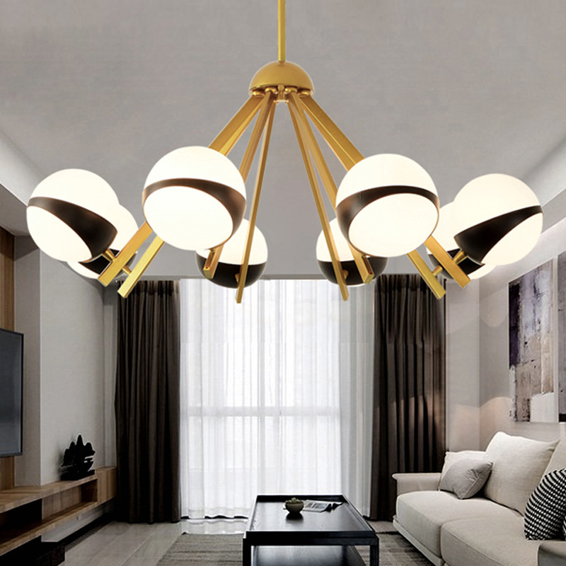 Chandeliers Post-modern Led Novelty Chandelier Nordic Fixtures Glass Ball Illumination Living Room Hanging Lights Restaurant Suspended Lamps High Quality And Inexpensive Lights & Lighting