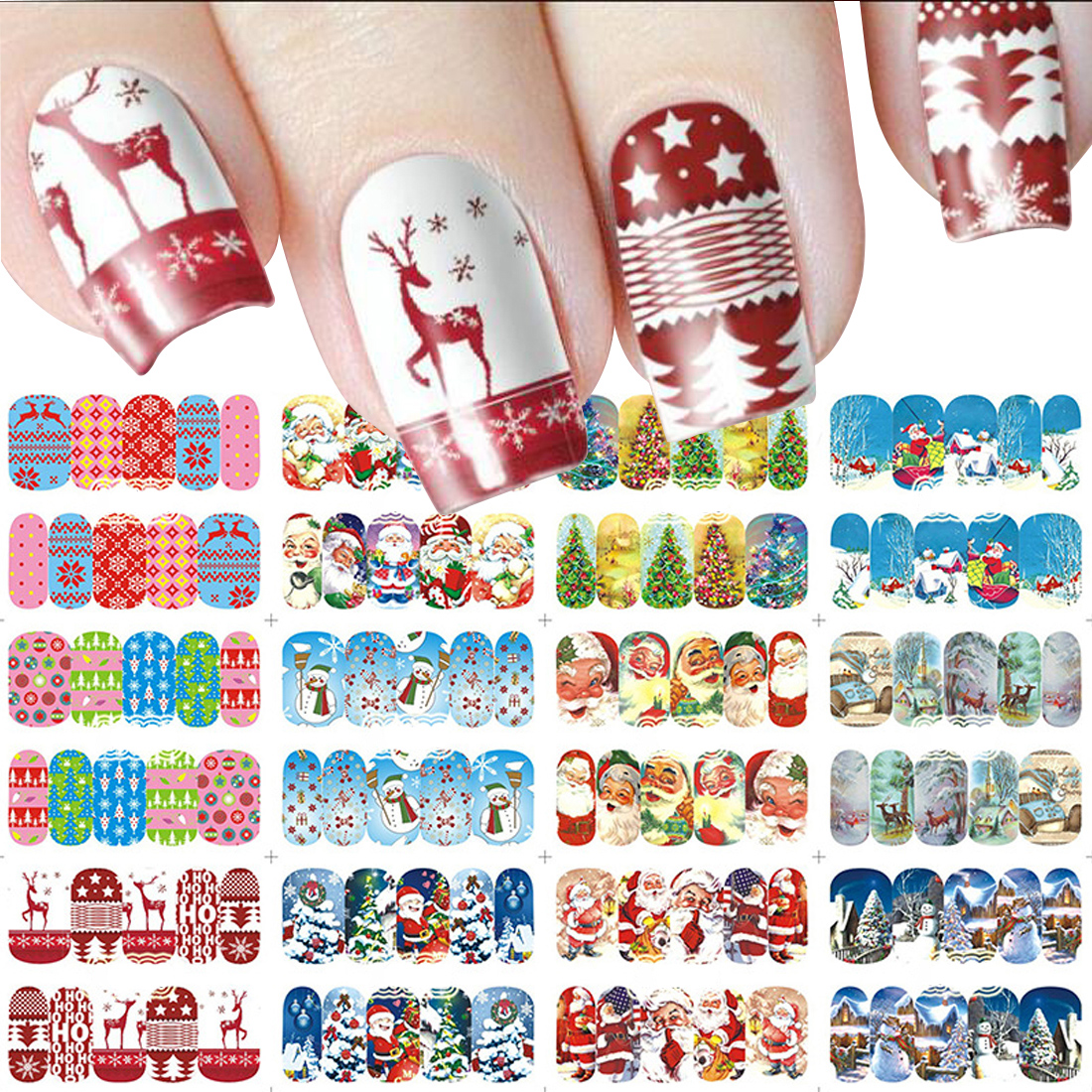 Nail Art sticker - New Year Tattoo 12 Sheets Christmas Water Decal