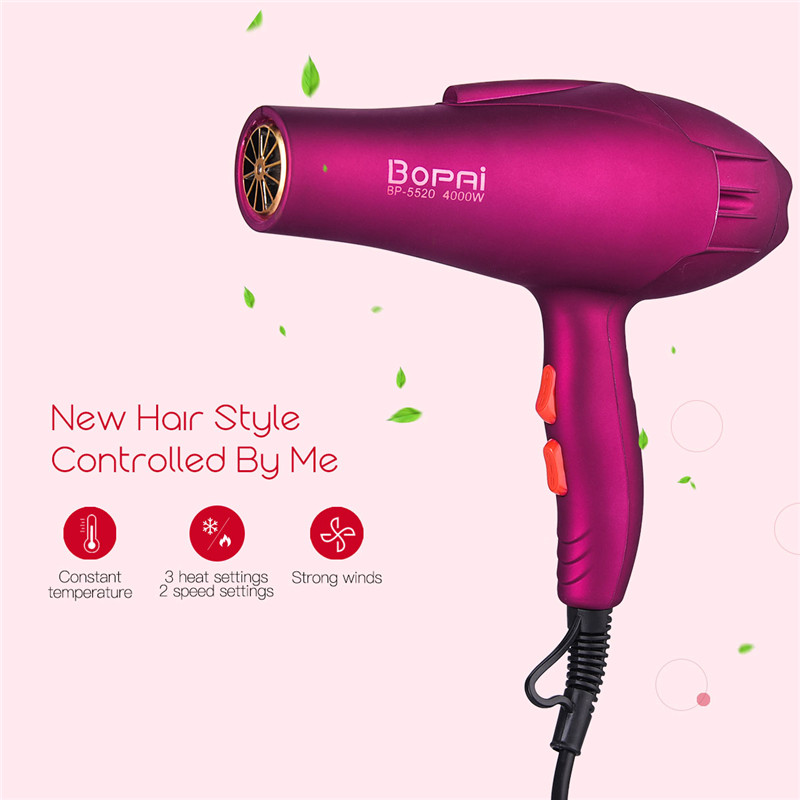 BoPAi 4000W Big Power Matte Surface Hairdryer Blue Light Hydra Negative ions Fast Blow Hair Dryer Make Hair Smooth Shiny S42BoPAi 4000W Big Power Matte Surface Hairdryer Blue Light Hydra Negative ions Fast Blow Hair Dryer Make Hair Smooth Shiny S42