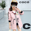 New spring children clothing girls casual jacket zipper girls cardigan jacket hooded teenager windbreaker coats kids trench coat