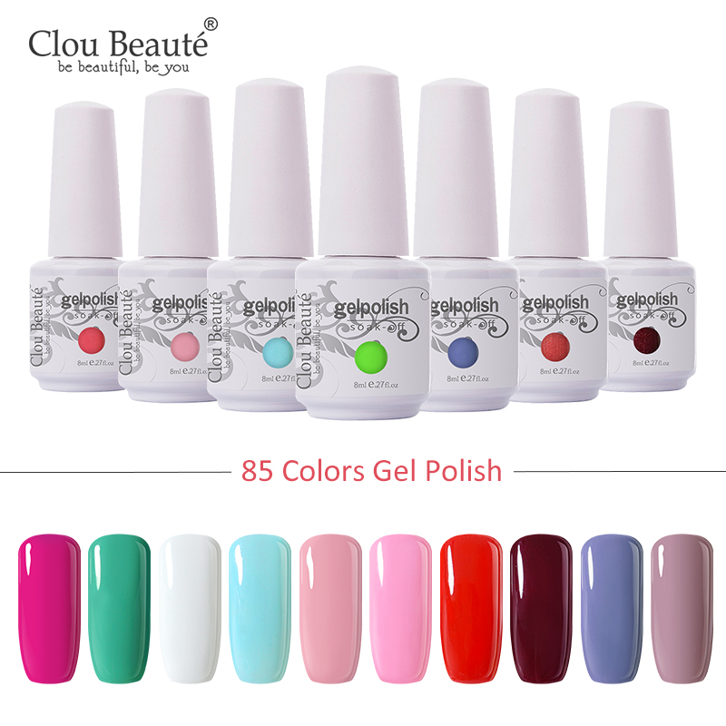 Clou Beaute 85 Colors Gel Nail Polish Glitter LED UV Gel Varnish Nail Art Varnish Soak Off Gel Lacquer Pink 8ml Nail Gel Polish