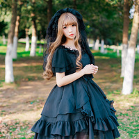 Summer Cute Back Bow Pure Chiffon Ruffles Girls Lolita Dress Women Butterfly Sleeve Irregular Hem Cute