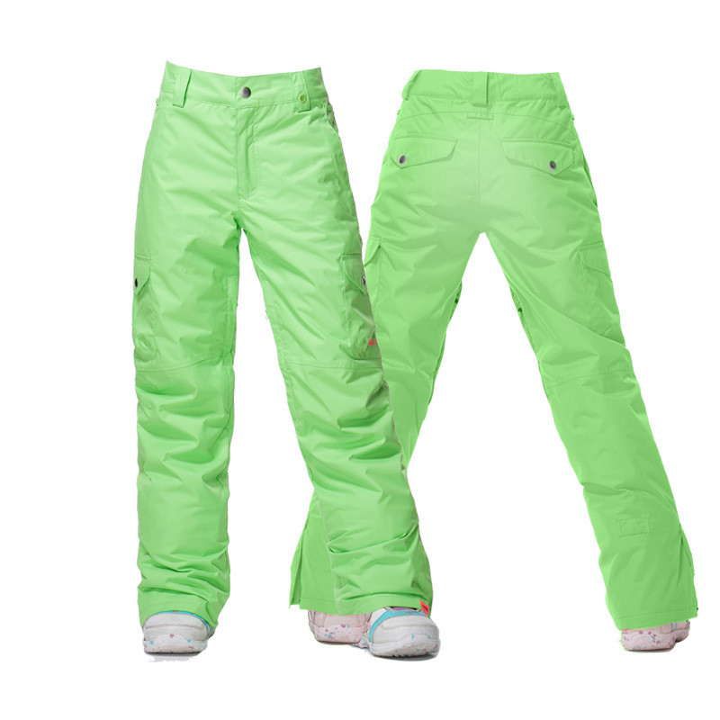 Гсоу снег Ветрозащитный лыжные брюки водонепроницаемый красный зеленый зимние спортивные брюки для сноуборда оборудование