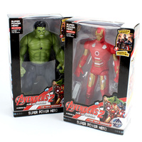 20cm 2017 New Avengers Toys Light Rotate Iron Man Hulk PVC Action Figure Model Toys Brinquedos
