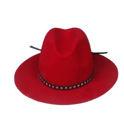 Новая модная женская мужская шерстяная шляпа fedora фетровая Панама женская элегантная мягкая Шляпа Дерби мягкая фетровая шляпа с кожаным брендом - Цвет: Red