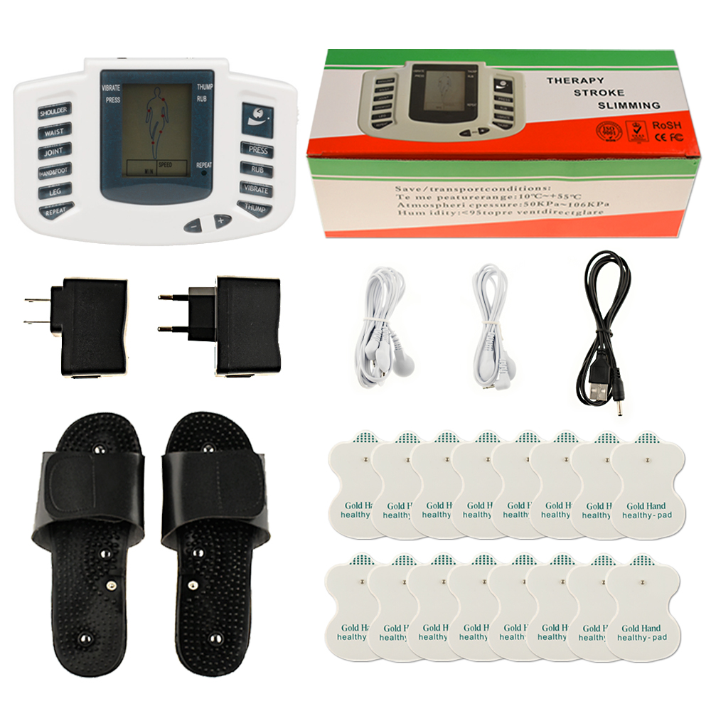 Electrical Stimulator Full Body Relax Muscle Massager Pulse TENS Acupuncture with Therapy Slipper 16 Electrode Pads electrical muscle stimulator body relax therapy massage device electric pulse tens acupuncture digital meridian massager 10 pads