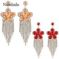 Nandudu Deslumbrante Cristal Austriaco Cuelgan Los Pendientes de la Nueva Moda de Lujo Chispeante Pendiente de Gota Del Partido Regalo E664 E665
