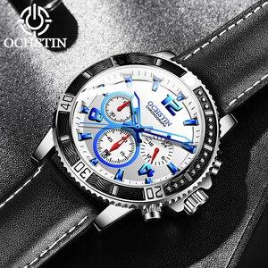 Image 4 - OCHSTIN אופנה עיצוב למעלה מותג גברים שעונים גברים של עור עמיד למים מזדמן קוורץ תאריך שעון זכר שעון relogio masculino