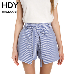 HDY Haoduoyi 2019 Summer Stripe Shorts Women Loose Casual Short Slim High Waist Button Culotte Lacing Bottom Cotton Skirt Shorts