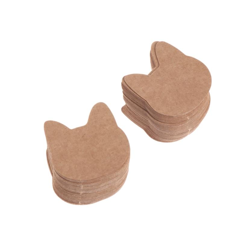100 Pcs/Bag Kraft Paper Jewelry Packing Earrings Display Tags Cards Tree Cat Ear Y4QB