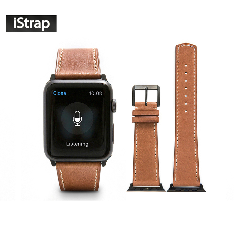 iStrap Light Brown Strap For Apple Watch 42mm France Calf leather Watch Strap with Classic Pin buckle fit 42mm Apple Watch Band planet waves 25ls01 dx classic leather strap with contrast stitch brown