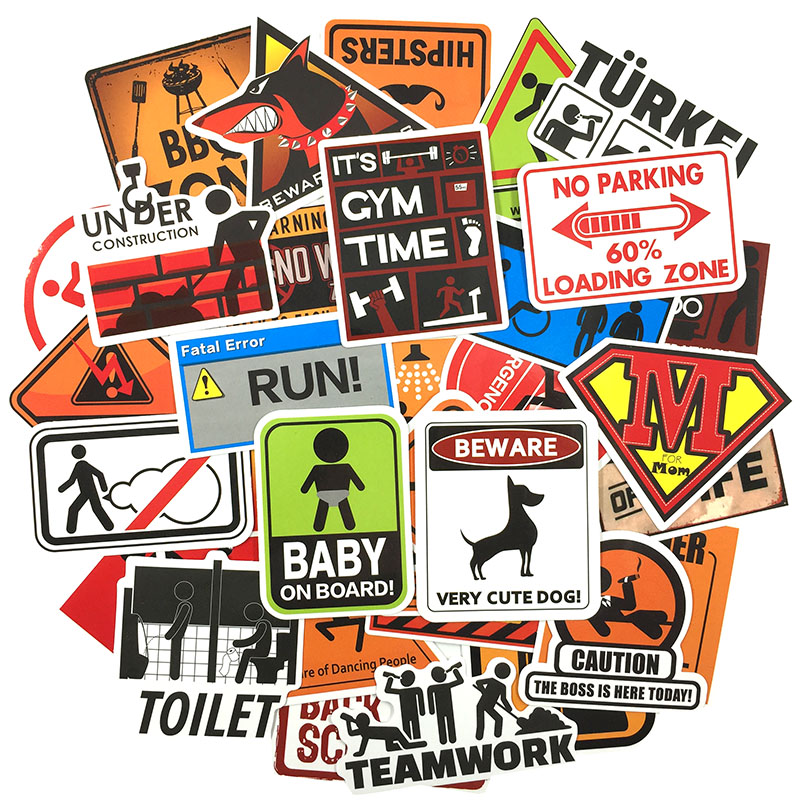 Image 5 - 50 pcs Warning Sign Sticker wallpaper Decal Motorcycle Fridge Skateboard Doodle Funny Stickers for Auto Laptop Trunk Car-in Stickers from Toys & Hobbies