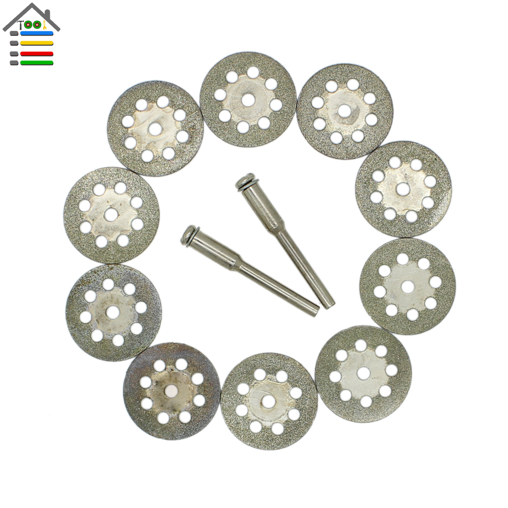 10Pcs 22mm Mini Sharp Diamond Cut Off Rotary Tool Cutting Disc Disks DIY Tools Accessories For Dremel with 2 Pcs Rod Mandrel ножницы по металлу gross piranha 78331