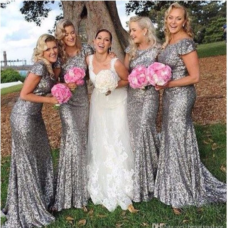 Plus Size silver Shining Sequin   Bridesmaid     Dresses   Sexy Backless Long Wedding Party Gowns Simple Maid of Honor   Dress