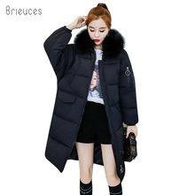 Brieuces 2018 Outerwear Hooded Large Fur Collar Loose Winter Parkas Thickening Warm Winter Coat Women Plus Size Cotton Jackets цена в Москве и Питере