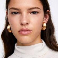 Großhandel JUJIA Frauen Ohrringe Vintage Trendy Shiny Gold Metall Clip Ohrringe Erklärung Schmuck Brincos Großhandel