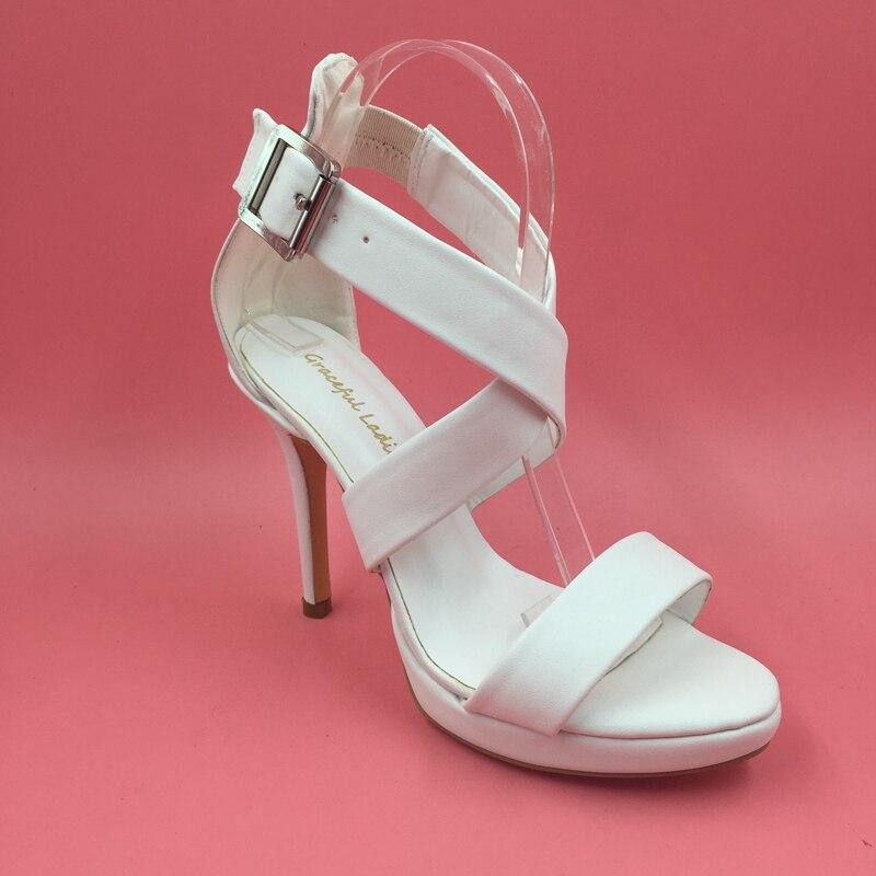 Simple White Sandals Shoes Cross Strap High Heels Stilettos Chaussure Talon Femme Zapatos De Mujer De Vestir Footwear WomenSimple White Sandals Shoes Cross Strap High Heels Stilettos Chaussure Talon Femme Zapatos De Mujer De Vestir Footwear Women