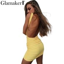 Glamaker элегантный спинки летнее платье женские тонкие короткое платье карандаш Повседневное пляжные облегающее платье Мини Сарафан Vestidos