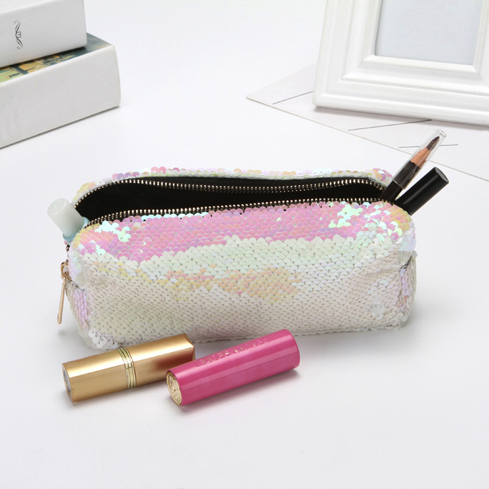 Cosmetic Bags Makeup Bag Women Travel Organizer Double Color Sequins Storage Brush Necessaries Make Up Case Beauty Toiletry Bag
