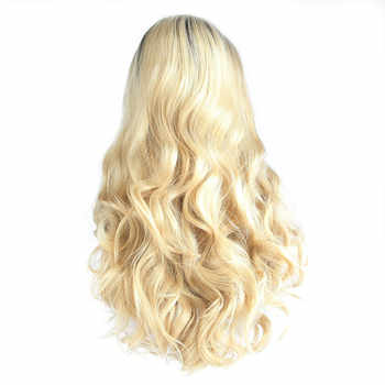 Sylvia Heat Resistant Fiber Hair With Dark Roots Long Body Wave Wigs With Side Part Bang Synthetic Lace Front Wig For Women