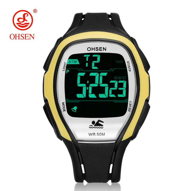 aec04ab4fc3 OHSEN Digital LED Men Fashion Sport Wristwatch Stopwatch Silicone Strap  Yellow Outdoor Waterproof Alarm Watch relogio