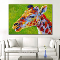 Hand Painted Animal Giraffe Oil painting On Canvas Painting For Living Room Wall Art Canvas Pop art modern abstract wallpaper