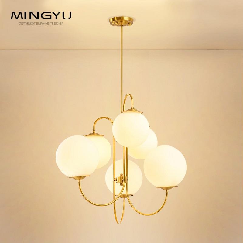 New Milk White Glass Ball Chandelier Lighting 6 Heads G4 Led Bulb 110V 120V 220V 240V Hanging Light Fixtures