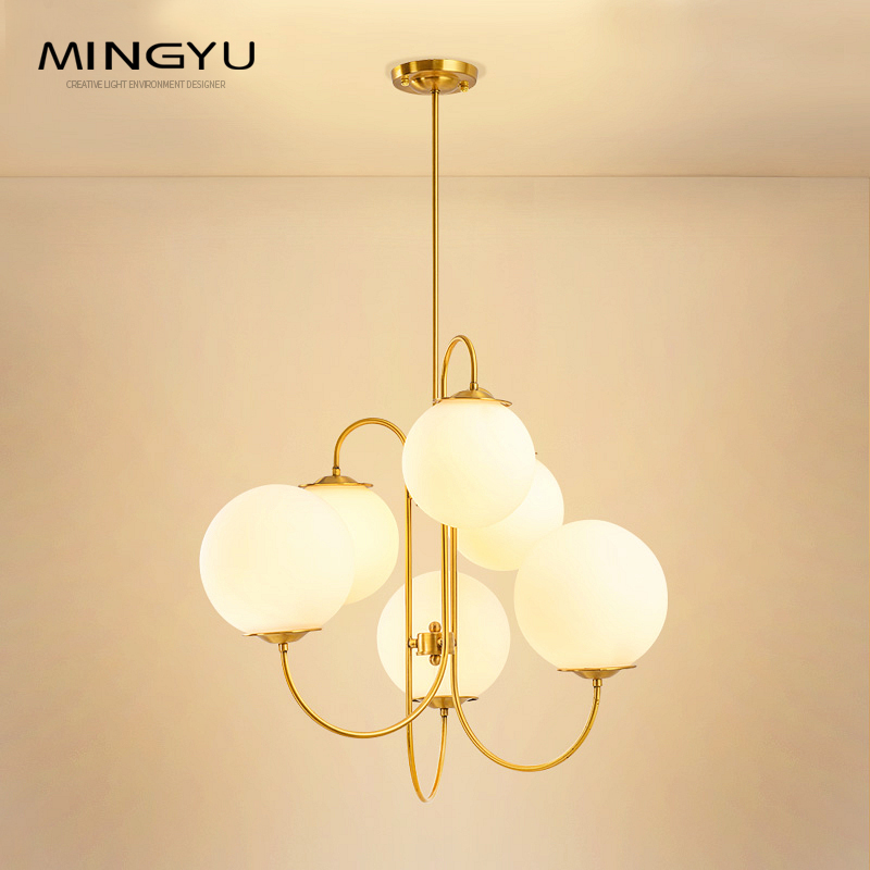 Nouveau lustre en verre blanc lait boule éclairage 6 têtes G4 led ampoule 110 V 120 V 220 V 240 V luminaires suspendus