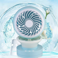 Portable Outdoor Mini Fans With LED Lamp Light Table USB Fan Spray Water Humidifier Personal Air
